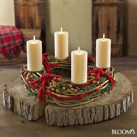 holz wood candel centerpiece for the home pinterest weihnachtskerzen weihnachten und advent. Black Bedroom Furniture Sets. Home Design Ideas