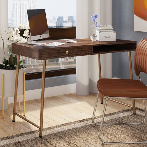 Ivy Bronx Guzzi Verse Solid Wood Writing Desk Wayfair Wood Writing Desk Solid Wood Writing Desk Desk