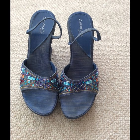 Denim Platform Wedge Cute and Comfy Denim wedge shoe with a little multicolor bling. Shoes Wedges