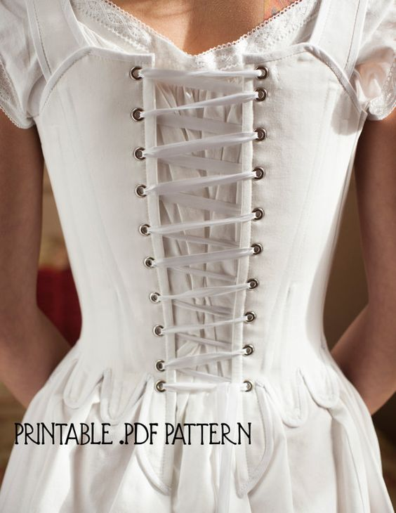 This listing is for an individually-sized, printable PDF 18th Century Corset pattern in size EXTRA LARGE (see size chart below). This is a
