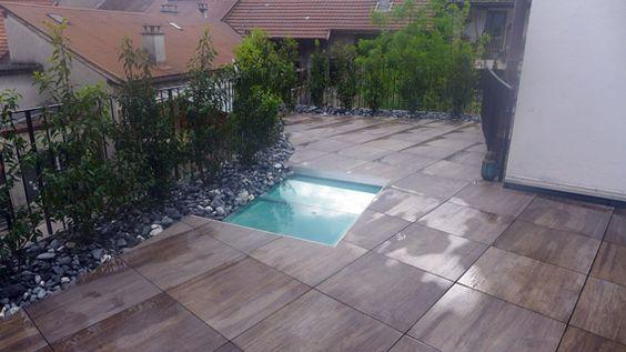 Alti Paysage Terrasse Dalles Grès Céram imitation bois, pose sur