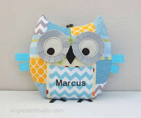 Personalized Medium Patchwork Owl Tooth Fairy Pillow Plush Stuffed Toy - great for baby boy or toddler - Yellow, Blue, Gray on Etsy, $39.50