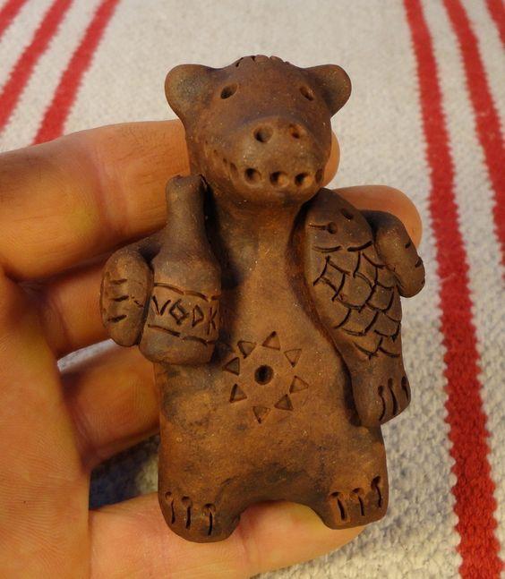 медведь с водкой и рыбой , свистулька ,ocarina $20