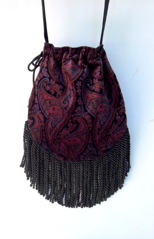 Pink and Purple Fringed Velvet Gypsy Bag Black by piperscrossing