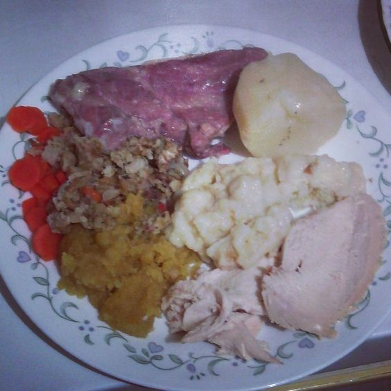 Chicken, Dough Boys, Potato, Mashed Rutabaga, Stuffing, Carrot & Ribs