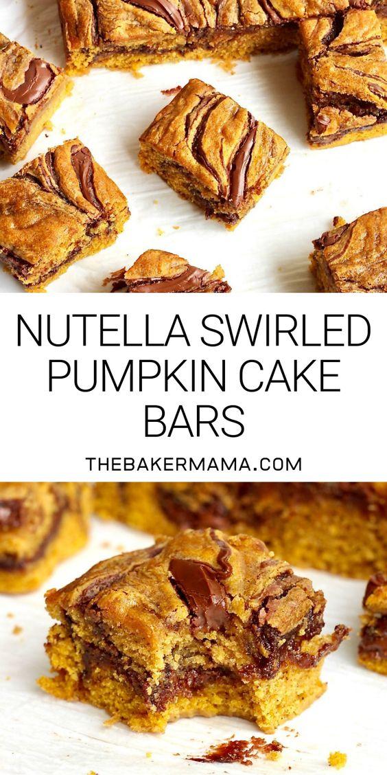 Nutella Swirled Pumpkin Cake Bars