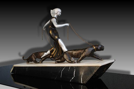 Uncommon Art Deco Sculpture of Woman With Two Panthers, c. 1930