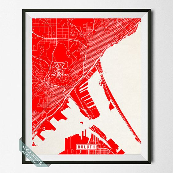 Duluth Print Minnesota Poster Duluth Map Duluth by VocaPrints