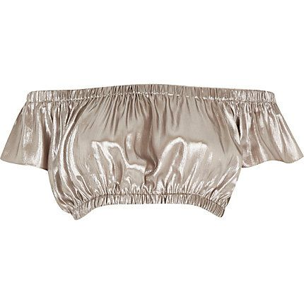 Silver ruched bardot top - Shine all the way through summer! £22 #riverisland