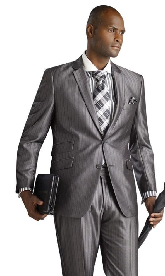 E.J. Exquisite Sheen Suit Slim Fit Suit Grey Mens 2 Piece Men