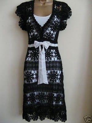 Hooked on crochet: Vestido preto de crochê / Black Crochet Dress