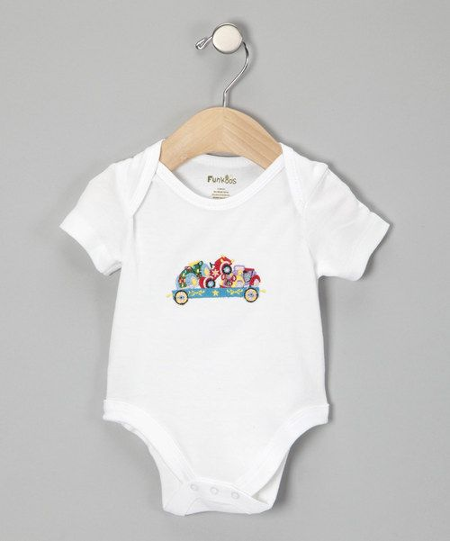 Take a look at this White Circus Train Organic Bodysuit I bought at zulily today!