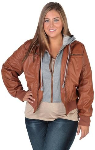 Deb Shops Plus Size Leather Jacket With Fleece Hood and Full Zip