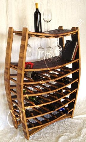 "WINE RACK -- ""Chablis"" -- Large Wine Barrel Rack with glass holders- 1 