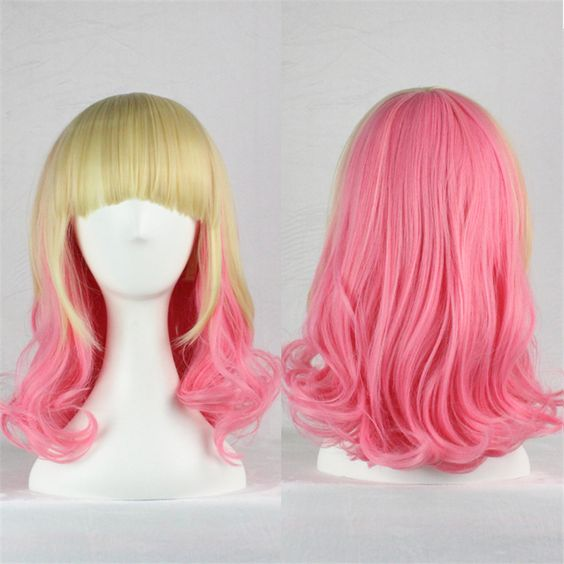 $15.68 (Buy here: http://appdeal.ru/8guc ) harajuku wig gradient women natural heat resistant synthetic wigs cosplay long pink blonde wig mixed two tone wigs with bangs  for just $15.68
