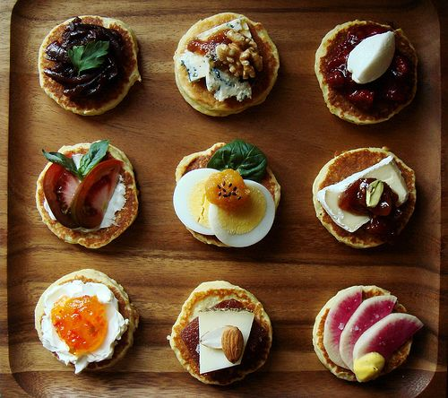 Try mini pancakes with all her favorite flavors for mother for Canape party