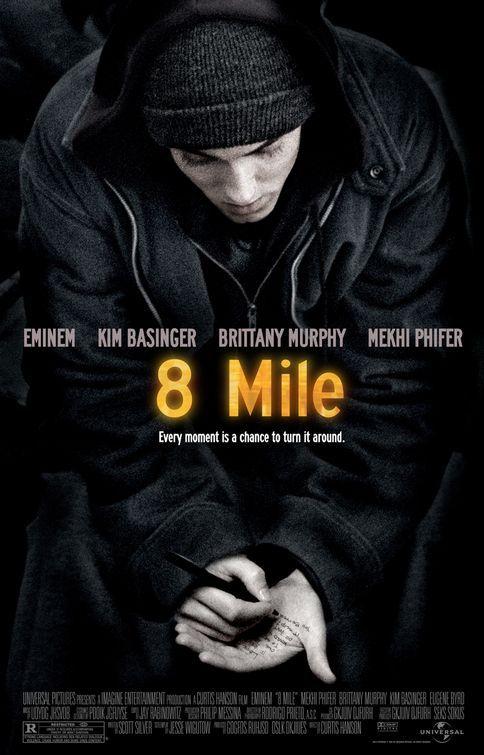 8 Mile (2002) Director: Curtis Hanson. Writer: Scott Silver. Stars: Eminem, Brittany Murphy, Kim Basinger...