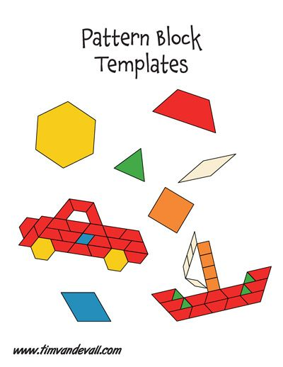 Pattern Block Templates Color Math Printables