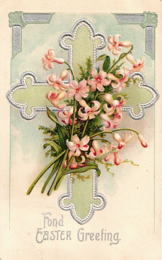 Antique Images: Free Easter Graphic: Vintage Easter Postcard with Cross and Pink Easter Lilies: