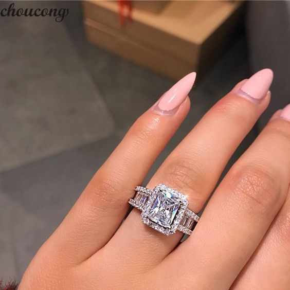 choucong Court Promise Ring 925 sterling Silver 3ct 5A Zircon cz Engag | KjSelections