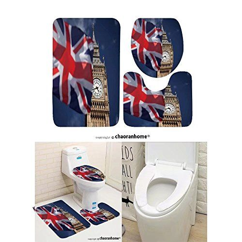 Chaoranhome Pattern Bath Mat Set 3 Piece Bathroom Mats British Union Jack Flag And Big Ben Clock Tow Bathroom R Patterned Bath Mats Bathroom Mats Toilet Covers