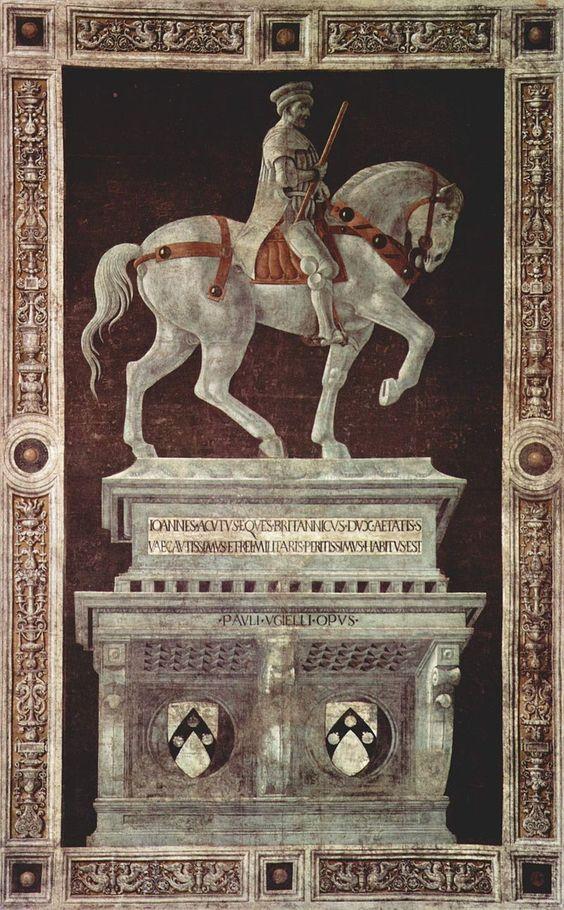 Palo Uccelo -Monumento equestre a Giovanni Acuto - John Hawkwood, italianizzato in Giovanni Acuto (Sible Hedingham, 1320 circa – Firenze, 14 marzo 1394), è stato un condottiero e cavaliere medievale inglese. Il nome italiano gli fu attribuito da Niccolò Machiavelli, che riprese la versione francese «Jean de l'Aiguille» (Giovanni dell'Ago ).L'opera, celebrava il condottiero inglese che aveva trionfato nelle guerre per Firenze