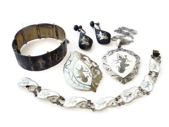 Siam Sterling Silver Jewelry Lot Bracelets, Brooch, Necklace, Earrings 78 Grams  #SiamSterling