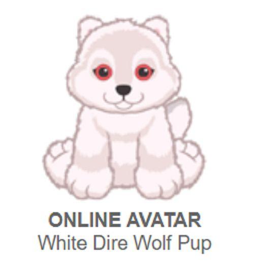 Webkinz White Dire Wolf Pup New Promo Pet Code Only Webkinz