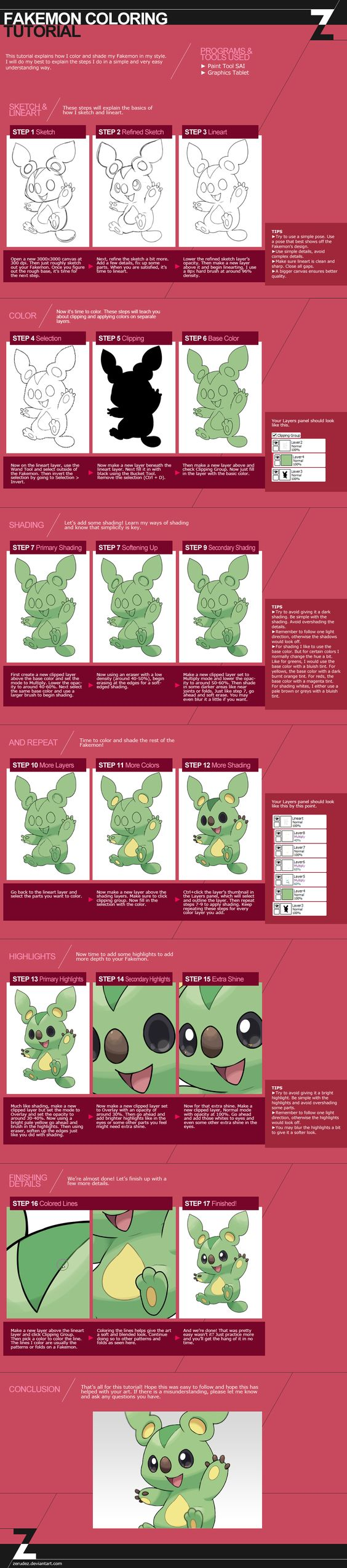 Fakemon Coloring Tutorial by zerudez.deviantart.com on @DeviantArt—I hope that soon I get Paint Tool SAI so I can draw some of my Fakemon designs ^.^