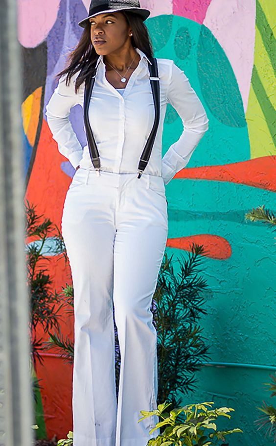 Bold black suspenders with white outfit