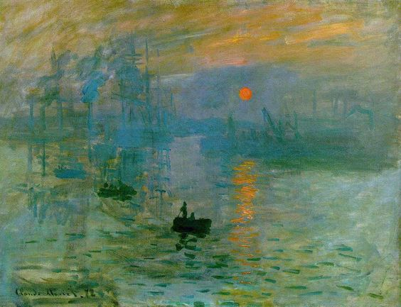 Impression, soleil levant, Claude Monet, 1872, Oil on canvas 48 cm × 63 cm Musée Marmottan Monet, Paris  [Impression, Sunrise is a painting by Claude Monet. It gave rise to the name of the Impressionist movement.]  http://www.marmottan.com/english/collections-musee/claude-monet.asp
