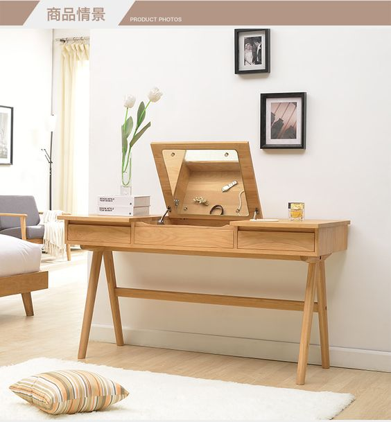 Oak dresser desk simple japanese style nordic style solid for Simple dressing table