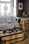 Room with chocolate brown walls, cameras, vintage French sofa and vintage trunks