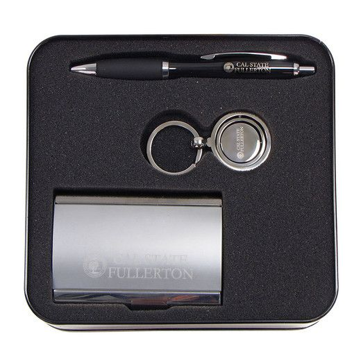 Descriptionthis Amazing Gift Set Comes With A Business Card Holder Ballpoint Pen And A Cal State Fullerton Key Ch With Images Black Gift Boxes Metal Engraving Best Gifts