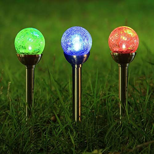 Twinkle Star Solar Pathway Lights Crackle Glass Globe Solar Lights Outdoor Color Changing Stainless Steel So Solar Lights Solar Lights Garden Solar Wall Lights