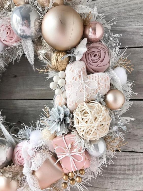 Light Gold Christmas Wreath Light Pink Beige Holiday Gift Front Door Wreath Handmade Wall Decor Home