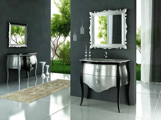 Mueble de baño vintage paris negro plata alto brillo neoclásico ...