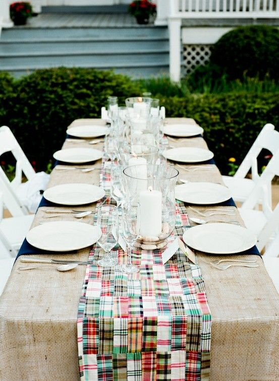 i like the burlap; would seersucker or bright green and orange gingham (or stripes!) work in place of the madras?