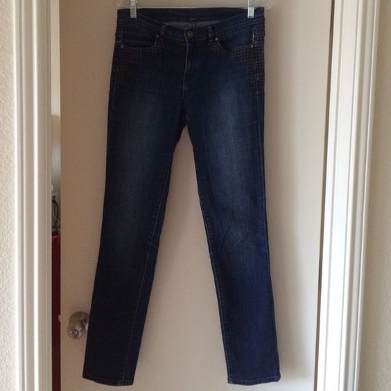 """Calvin Klein Jeans skinny size 8/29 inseam 31"""" Calvin Klein Jeans dark skinny size 8/29 inseam 31"""", good condition, never tumble dried, decorative grey stitching pattern below both from pockets. Calvin Klein Jeans Skinny"""