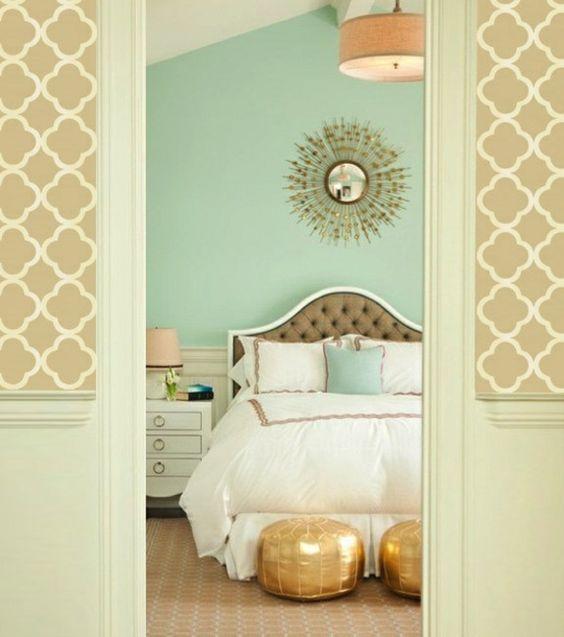 wanddeko schlafzimmer farben Schlafzimmerwand gestalten sonnenspiegel