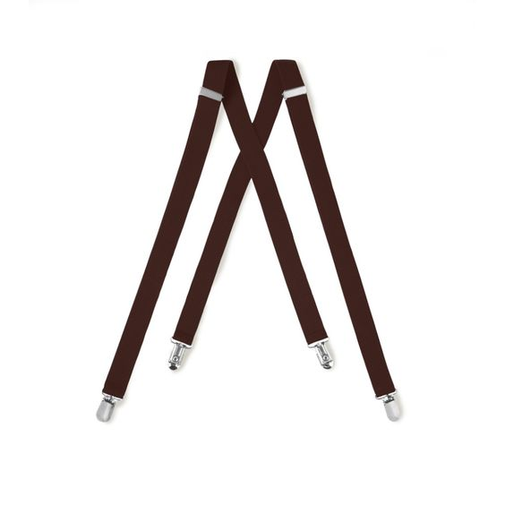 Brown Suspenders One Inch Wide Clip End