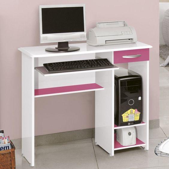 Compre Mesa para Computador Siena Notável Móveis Branco/Rosa em até 10x sem juros e entrega para todo Brasil. Produto Campeão de Vendas. Aproveite!