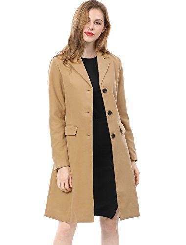 Allegra K Women's Notched Lapel Button Closure Worsted Lo...