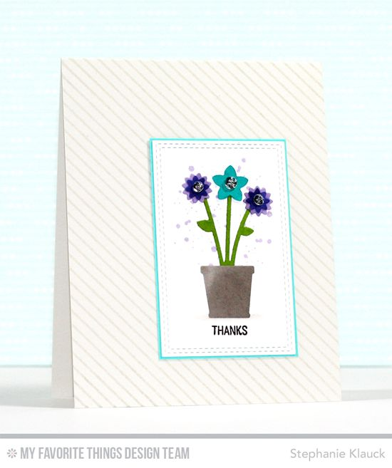 Handmade card from Stephanie Klauck featuring Warm & Fuzzy Friends stamp set, Diagonal Stripes Background stamp, and Spring Garden Die-namics #mftstamps