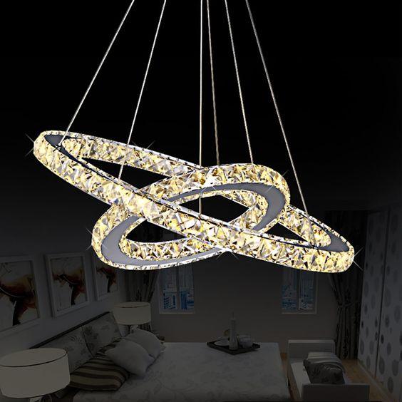 pas cher diy led pendentif lampe diamant anneau cristal luminaires suspendus pendentif lampe. Black Bedroom Furniture Sets. Home Design Ideas