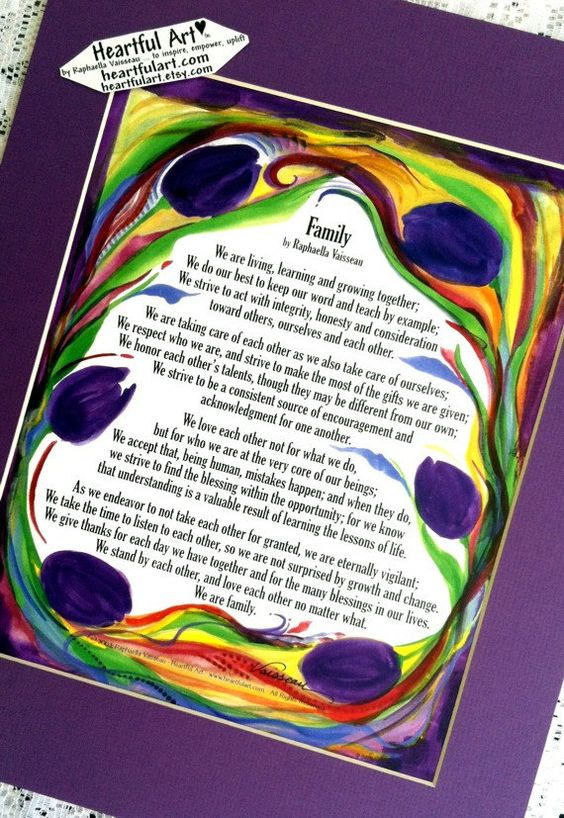 FAMILY Poem #11x14 Print of Original Words by Raphaella Vaisseau #Heartfulart on #Etsy #family #creed #poem #prose #raphaella_vaisseau #heartful_art #original #inspiration #motivation #bonding #mom #dad #children #families
