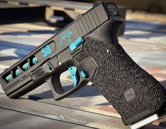 """""""Where's my NC peeps?! #CarolinaPanthers build done by @precision_syndicate_llc #GlockPorn #Glock - Frame work by @dangerclosearmament"""""""