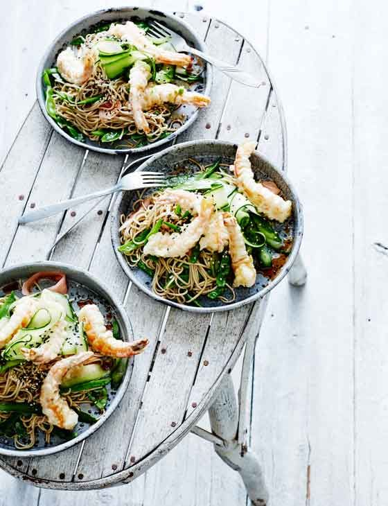 Tempura prawn salad with pickled ginger. Ready in just 30 minutes, make it tonight!