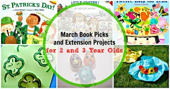 March book picks for 2 and 3 year olds. Books and project ideas for the themes of St. Patrick's Day, Spring, Easter, and more!