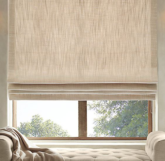 Perennials 174 Textured Linen Flat Roman Shade Nickie Decor